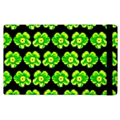 Green Yellow Flower Pattern On Dark Green Apple Ipad 2 Flip Case