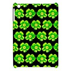 Green Yellow Flower Pattern On Dark Green Apple iPad Mini Hardshell Case