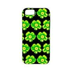 Green Yellow Flower Pattern On Dark Green Apple iPhone 5 Classic Hardshell Case (PC+Silicone)