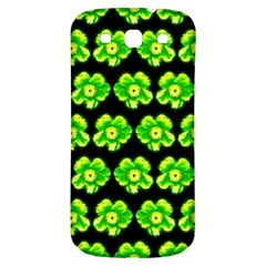 Green Yellow Flower Pattern On Dark Green Samsung Galaxy S3 S III Classic Hardshell Back Case