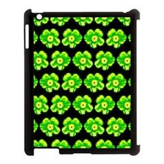 Green Yellow Flower Pattern On Dark Green Apple iPad 3/4 Case (Black)