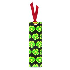 Green Yellow Flower Pattern On Dark Green Small Book Marks