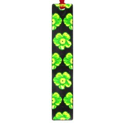 Green Yellow Flower Pattern On Dark Green Large Book Marks