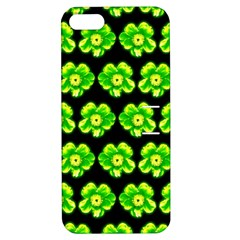 Green Yellow Flower Pattern On Dark Green Apple iPhone 5 Hardshell Case with Stand