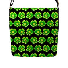 Green Yellow Flower Pattern On Dark Green Flap Messenger Bag (L)