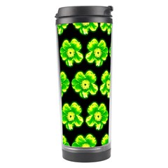 Green Yellow Flower Pattern On Dark Green Travel Tumbler