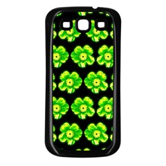 Green Yellow Flower Pattern On Dark Green Samsung Galaxy S3 Back Case (Black)