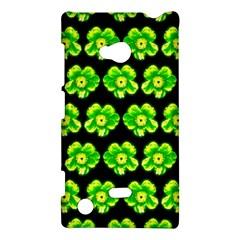 Green Yellow Flower Pattern On Dark Green Nokia Lumia 720