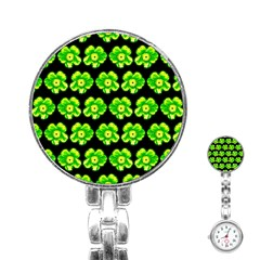 Green Yellow Flower Pattern On Dark Green Stainless Steel Nurses Watch