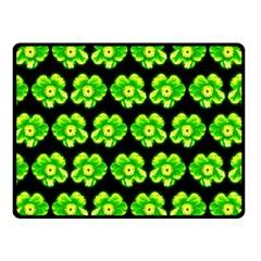 Green Yellow Flower Pattern On Dark Green Double Sided Fleece Blanket (Small)