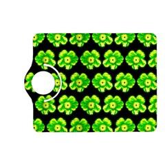 Green Yellow Flower Pattern On Dark Green Kindle Fire HD (2013) Flip 360 Case