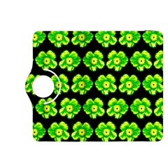 Green Yellow Flower Pattern On Dark Green Kindle Fire HDX 8.9  Flip 360 Case
