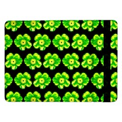 Green Yellow Flower Pattern On Dark Green Samsung Galaxy Tab Pro 12.2  Flip Case