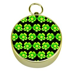 Green Yellow Flower Pattern On Dark Green Gold Compasses