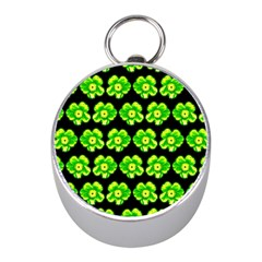 Green Yellow Flower Pattern On Dark Green Mini Silver Compasses