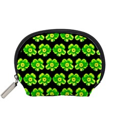 Green Yellow Flower Pattern On Dark Green Accessory Pouches (Small)