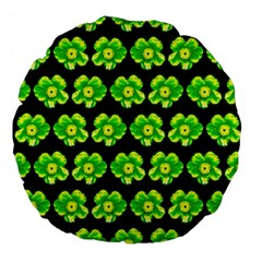 Green Yellow Flower Pattern On Dark Green Large 18  Premium Flano Round Cushions