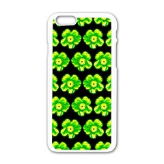 Green Yellow Flower Pattern On Dark Green Apple iPhone 6/6S White Enamel Case