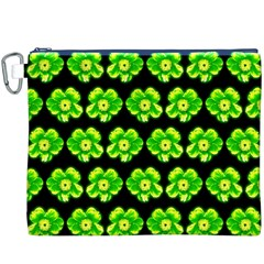 Green Yellow Flower Pattern On Dark Green Canvas Cosmetic Bag (XXXL)