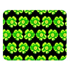 Green Yellow Flower Pattern On Dark Green Double Sided Flano Blanket (Large)