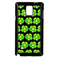 Green Yellow Flower Pattern On Dark Green Samsung Galaxy Note 4 Case (Black)