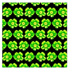 Green Yellow Flower Pattern On Dark Green Large Satin Scarf (Square)