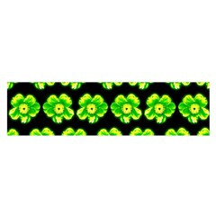Green Yellow Flower Pattern On Dark Green Satin Scarf (Oblong)