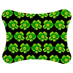 Green Yellow Flower Pattern On Dark Green Jigsaw Puzzle Photo Stand (Bow)