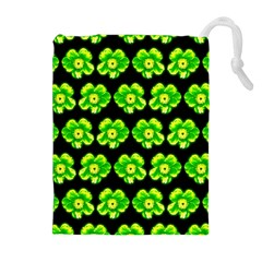 Green Yellow Flower Pattern On Dark Green Drawstring Pouches (Extra Large)