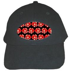 Red  Flower Pattern On Brown Black Cap