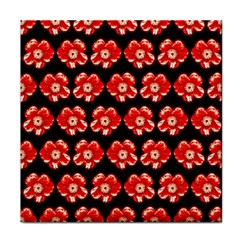 Red  Flower Pattern On Brown Tile Coasters