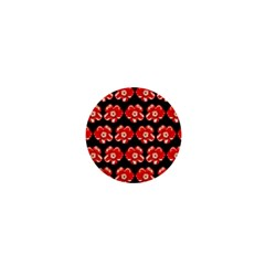 Red  Flower Pattern On Brown 1  Mini Buttons