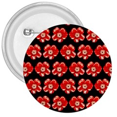 Red  Flower Pattern On Brown 3  Buttons