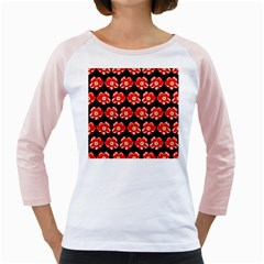Red  Flower Pattern On Brown Girly Raglans