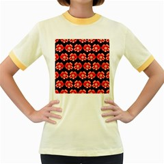 Red  Flower Pattern On Brown Women s Fitted Ringer T-Shirts