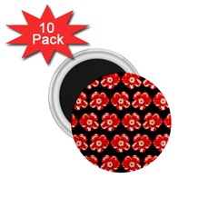 Red  Flower Pattern On Brown 1.75  Magnets (10 pack)