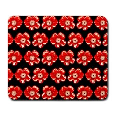 Red  Flower Pattern On Brown Large Mousepads