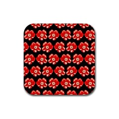 Red  Flower Pattern On Brown Rubber Square Coaster (4 pack)