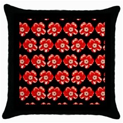 Red  Flower Pattern On Brown Throw Pillow Case (Black)