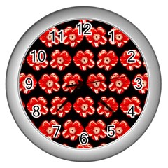 Red  Flower Pattern On Brown Wall Clocks (Silver)