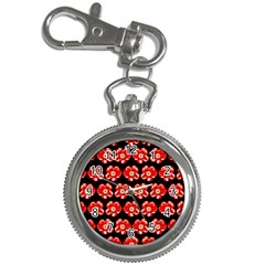 Red  Flower Pattern On Brown Key Chain Watches