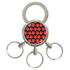 Red  Flower Pattern On Brown 3-Ring Key Chains