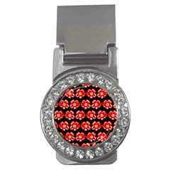 Red  Flower Pattern On Brown Money Clips (CZ)