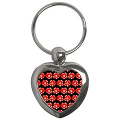 Red  Flower Pattern On Brown Key Chains (Heart)