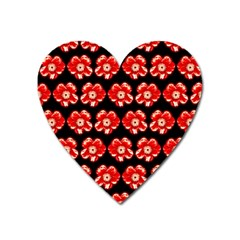 Red  Flower Pattern On Brown Heart Magnet