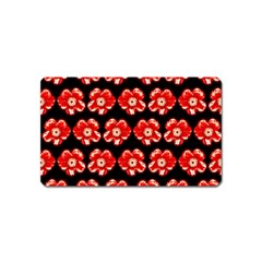 Red  Flower Pattern On Brown Magnet (Name Card)