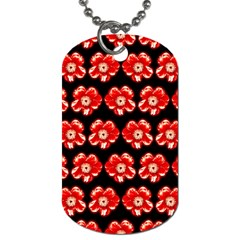 Red  Flower Pattern On Brown Dog Tag (One Side)