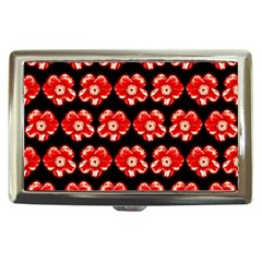 Red  Flower Pattern On Brown Cigarette Money Cases