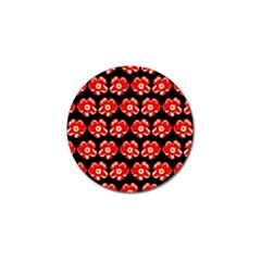 Red  Flower Pattern On Brown Golf Ball Marker (10 pack)