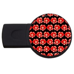 Red  Flower Pattern On Brown USB Flash Drive Round (2 GB)